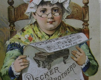 Pretty Girl with Bonnet and Glasses - Victorian Trade Card - Decker Brothers Pianos - 1800's