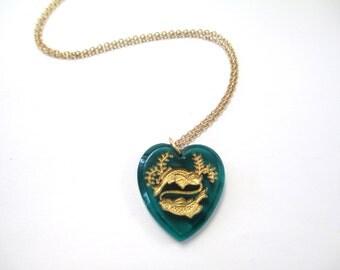 Vintage Glass Heart Zodiac Necklace DEADSTOCK Pisces/Libra