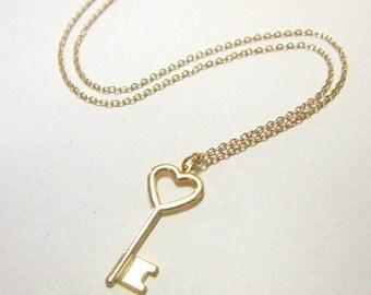Vintage Heart Key Necklace DEADSTOCK