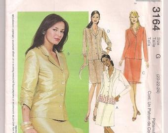 Jacket and Skirt, McCalls 3164, Princess Seams, Long or Short Sleeve, Skirt Pattern, Hemline Ruffle, Office Wear, Plus Size 20 22 24