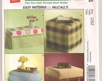 Ottoman Pattern, Trading Spaces McCalls 4734, Foam Cube, Skirted Ottoman, Foot Stool, DIY Home Decor, Bedroom Decor, Sewing Pattern Uncut
