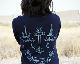 Anchor Cardigan - Navy Blue - American Apparel
