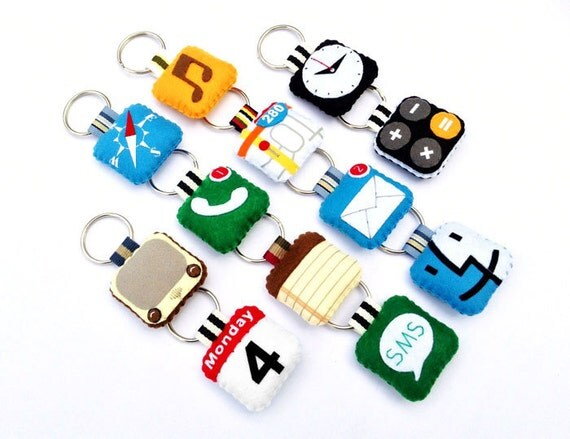 iPhone icon Felt Keychains ( 6 Pieces of your Choice)