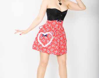 SALE Sweetheart apron -  red floral cotton with heart pocket -  1950s inspired half apron -  free shipping