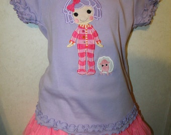 Lalaloopsy Pillow Featherbed Doll Embroidered Onesie or Shirt or tank