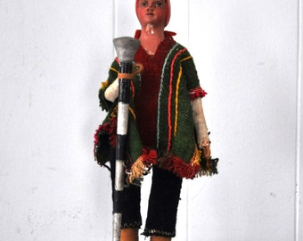 Folk Art Doll Sewing Needle Native American South Tribal Vintage 70s 60s Toy