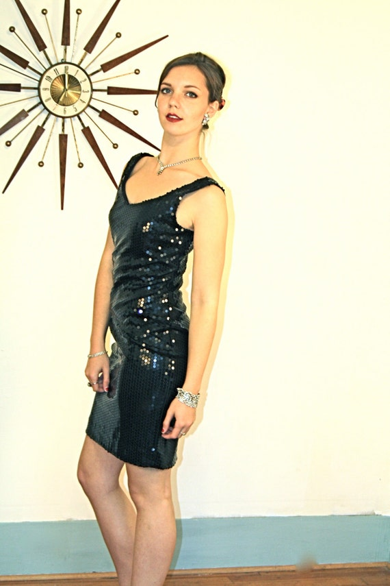 80s FULL SEQUIN Black Mini Dress/ Vintage Party 80s/ Super Tight Fitted/ Shiny Slinky/ Sleeveless Dress Tank Dress/ 1980s Short Wiggle Dress