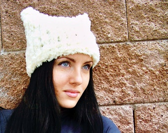Knit Hat Pattern, Knitting Patterns for Hats, Chunky Knit Hat, Hat Knitting Pattern Hat, Cat Hat, Cat Ear Hat, Cat Beanie, Womens Hats