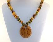 Chunky Colorful Jasper Necklace - Kazuri Necklace - Statement Necklace - Jasper Necklace - Brass Necklace - Brown Gold Orange Necklace