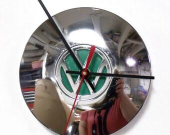 Volkswagen Hubcap Clock - VW Wall Clock with Green Center - Volkswagon
