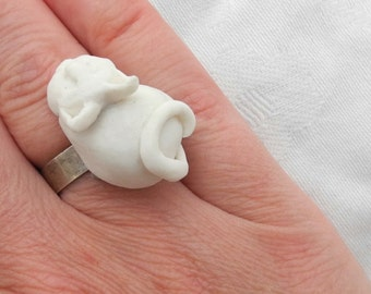 White porceain cat - topper for screw on ring - screw on jewelery