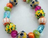 Lampwork Art Glass Multicolored Beaded Stretch Bracelet