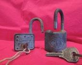 Vintage Pad Lock Padlock with Key Master, Corbin,  Steampunk Industrial
