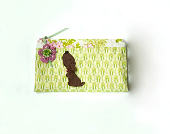 Zipper Pouch, Pencil Case, or Cosmetic Bag - Flashy Tealight in Green with Handmade Felt Floral Zipper Pull and Puppy Dog Embellishment