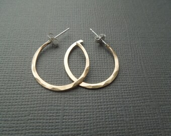 gold fill hoop earrings, thick, shiny, hammered, simple, modern, classic, everyday