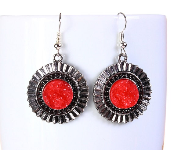 Antique silver red faux dusy dangle earrings - Faux Druzy earrings - Textured earrings (797) - Flat rate shipping earrings