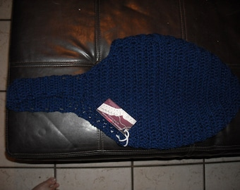 Navy Blue Crocheted Hobo Bag