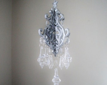 Flashes of Shimmer Teeny Car Chandelier Silver and Clear