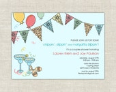 Viva Fiesta Bridal Shower Invitations, Mexican Themed Wedding Shower, Papel Picado, pennant banner, margaritas, turquoise, pastel, party