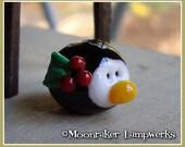 Penguin Head - Boy - Holiday Lampwork Bead