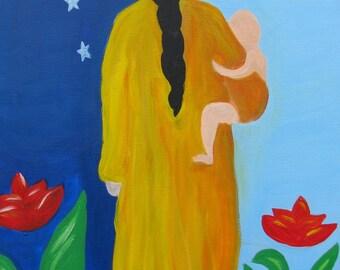 Mama- Motherhood Baby Shower Doula Midwife Mom Gift Original Painting on canvas PRINT