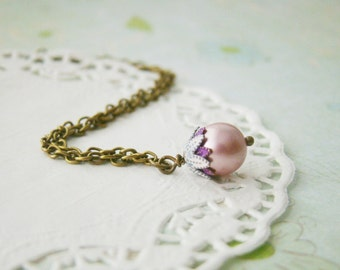 Bridesmaid whimsical petite patina cherry swarovski pink pearl nickel and lead free antiqued bronze necklace, wedding gifts, for wife