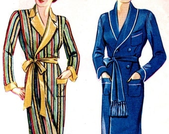 UNCUT Vintage 1930s - Hollywood Glamour Robe - Vintage NRA Pattern - Simplicity 1688 - - Factory Folded // Bust 36