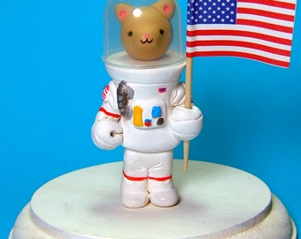 Kitty Cat Moon Landing Astronaut Figure Cake Topper READY TO SHIP - Handmade by The Happy Acorn