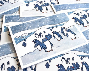 Penguins Card Set - Snowy Christmas Holiday