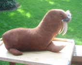 Leather Walrus, 1975 Kerr,  large 16 inch w rabbit fur Whiskers, Suede