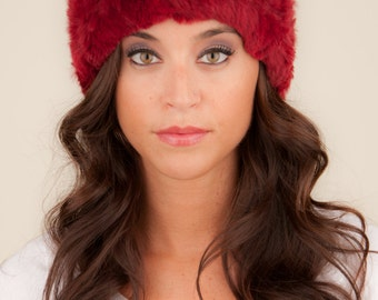 Knit Headband with Fur in Red