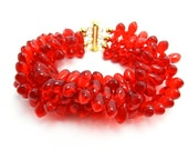 Red Bracelet, Multi Strand Bracelet, Cuff Bracelet, Statement Bracelet, Red Teardrop Beads