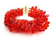 Red Bracelet, Multi Strand Bracelet, Cuff Bracelet, Statement Bracelet, Red Teardrop Beads