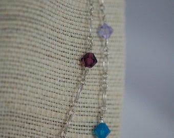 Long blue, purple, green & pink Swarovski crystal necklace. Crystal, Sterling silver, toggle clasp, handmade wire wrapped, necklace.