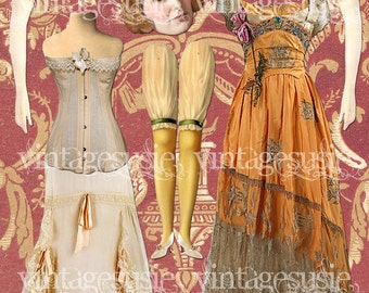 Vintage Edwardian Art Paperdoll Collage Sheet 'EDITH'  DOWNTON ABBEY Digital Download
