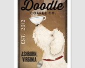 Goldendoodle Labradoodle FREE CUSTOMIZATION Coffee Company Sign  Archival Giclee Print