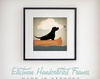 Black Dog Labrador Retriever Canoe Ride  GRAPHIC ILLUSTRATION giclee print SIGNED Framed 20x20x1