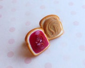 strawberry peanut butter and jelly stud earrings post earring polymer clay
