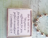 "Inspirational 2 Corinthians 12 9  Soldered Glass Pendant- ""My grace is sufficient for you""..."