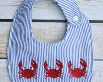 Seersucker crab Bib, embroidered bib, crab trio bib