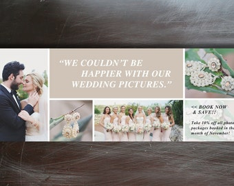 Photographer Facebook Timeline Cover Template - Wedding Photography Timeline - Blog Header Design - INSTANT DOWNLOAD - f0004