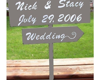 Wedding sign, directional sign, wooden wedding sign, custom wedding signs, personalized sign, hand painted, reception sign, ceremony sign