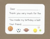 Sports Balls - Fill in the Blanks Thank You Notes -  Great for Boys