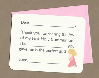First Holy Communion - Fill in the Blanks Thank You Notes - Praying Girl