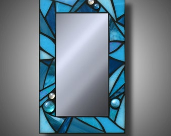 "Turquoise Blue Stained Glass Mosaic Mirror, 8"" x 12"" MADE TO ORDER"