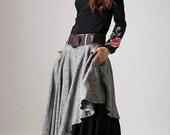 asymmetrical skirt,layered skirt, Gray skirt,linen skirt, Linen clothing, ladies clothing, maxi skirt, custom made,long skirt,Gift ideas 868