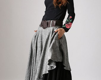 Layered skirt, asymmetrical skirt, long skirts for women, patchwork skirt, linen skirt, gray skirt, long skirt, linen clothing,gift ideas868