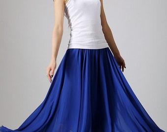 chiffon skirt, Royal blue skirt,  woman maxi skirt, long skirt, summer skirt , custom skirt , Summer skirt , plus size skirt (861)