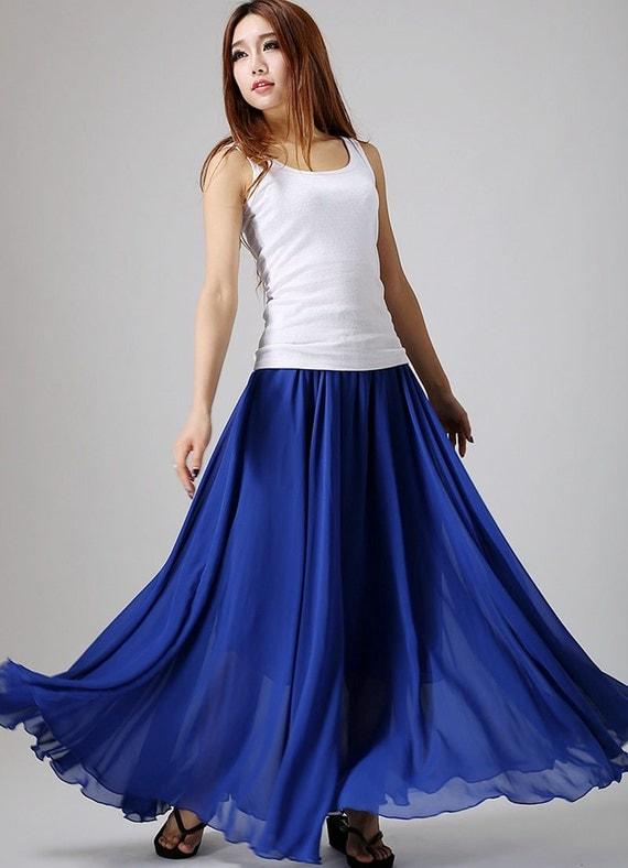 chiffon skirt royal blue skirt maxi skirt