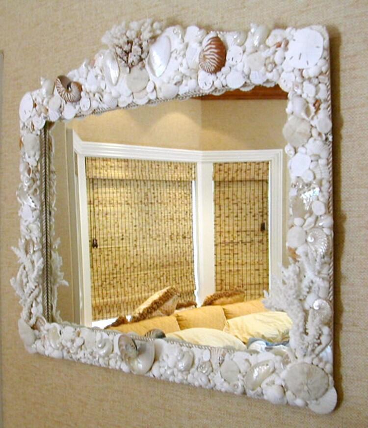 Beach decor seashell mirror 48 wide x 36 by seashellcollection for Mirror 48 x 36